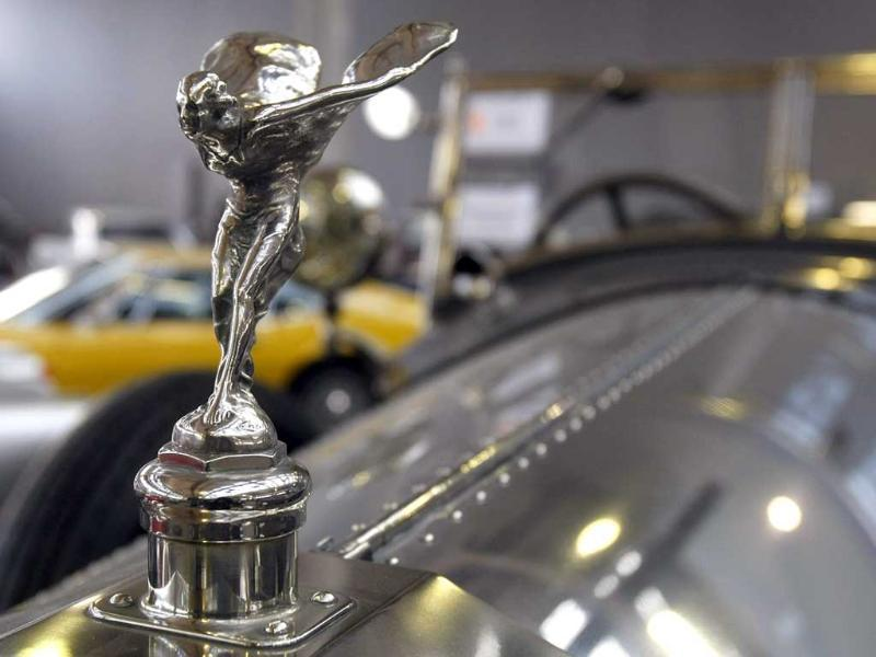 The Spirit of Ecstasy of a 1927 Rolls-Royce Phantom, which first belonged to the Maharajah of Pithapuram, is presented in Paris. Over 100 cars and 35 motorcycles, including several French-built cars and three private collections, will be sold at an auction held in Paris on February 2. (AP Photo/Remy de la Mauviniere)