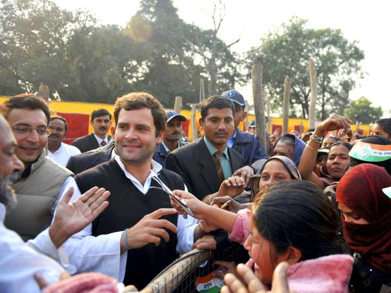 Congress party general secretary Rahul Gandhi meets supporters during an election campaign rally in Sitapur, some 85kms northwest of Lucknow. AFP Photo/Sajjad Hussain.