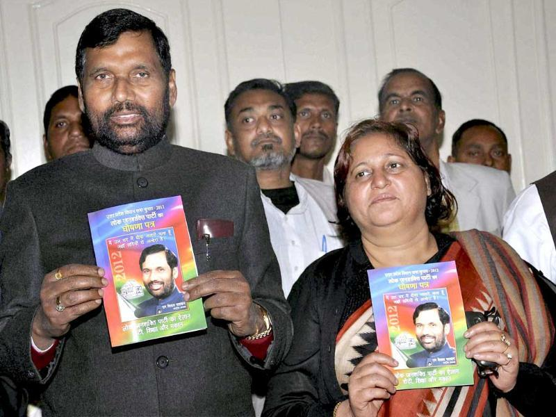 Lok Janshakti Party president Ram Vilas Paswan releasing the party manifesto for UP assembly elections in Lucknow. PTI Photo.
