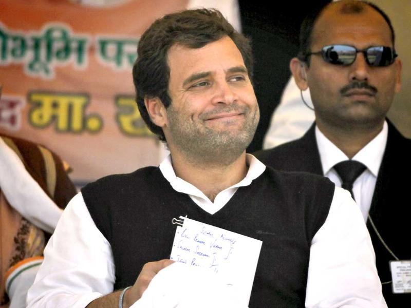 Congress party leader Rahul Gandhi attends an election rally at Sitapur, near Lucknow. AP Photo/Saurabh Das.
