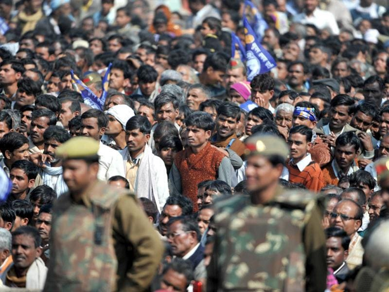 Supporters listen a speech by Uttar Pradesh chief minister Mayawati during an election campaign rally in Sitapur, some 85kms northwest of Lucknow. AFP/Sajjad Hussain