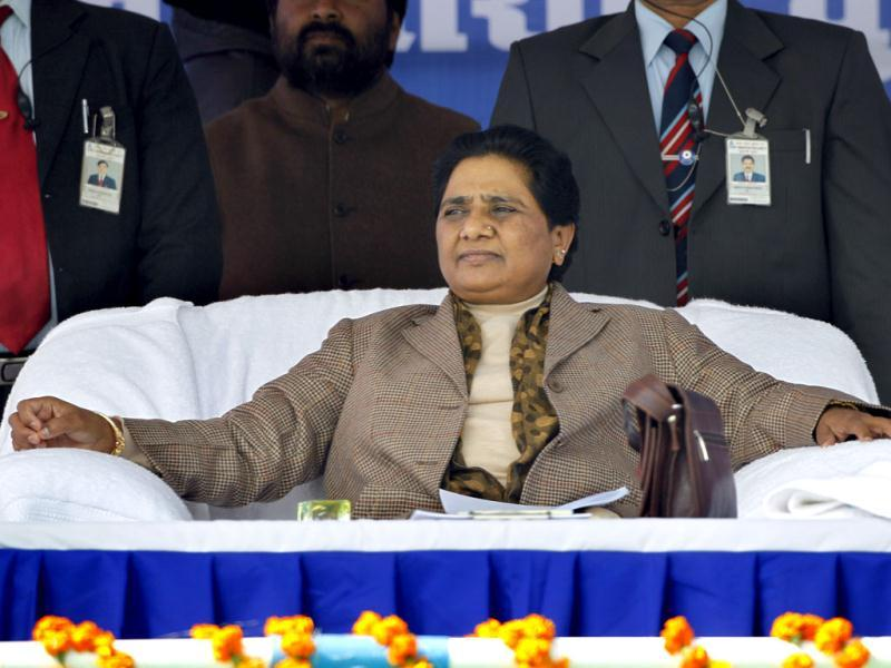 Chief minister of Uttar Pradesh Mayawati before addressing an election rally at Sitapur, near Lucknow. India's biggest state, Uttar Pradesh, will be choosing its state assembly in elections starting next week. AP Photo/Saurabh Das