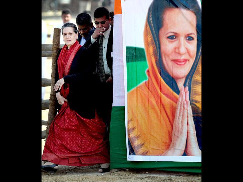 Congress President Sonia Gandhi arrives at an election rally in Gonda district, Uttar Pradesh. The state goes to the polls from February 8. PTI/Nand Kumar
