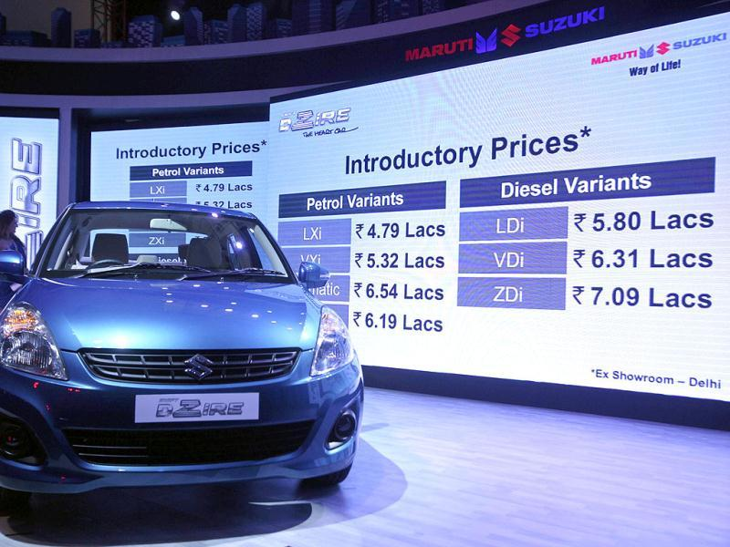 Prices of the new Maruti Suzuki Swift DZire are flashed on a screen during its launch in New Delhi. Reuters/Parivartan Sharma