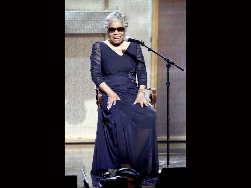 Maya Angelou speaks after receiving the Literary Arts Award during the BET Honors at the Warner Theatre in Washington. Angelou hopes for a time when Black History Month will no longer be needed to explain the contributions of African-Americans in America.