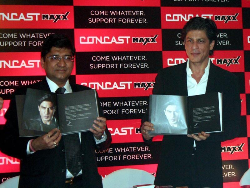 Shah Rukh Khan along with chairman and managing director Sanjay Sureka launched the Concast Support Book in Kolkata on Feb 1.