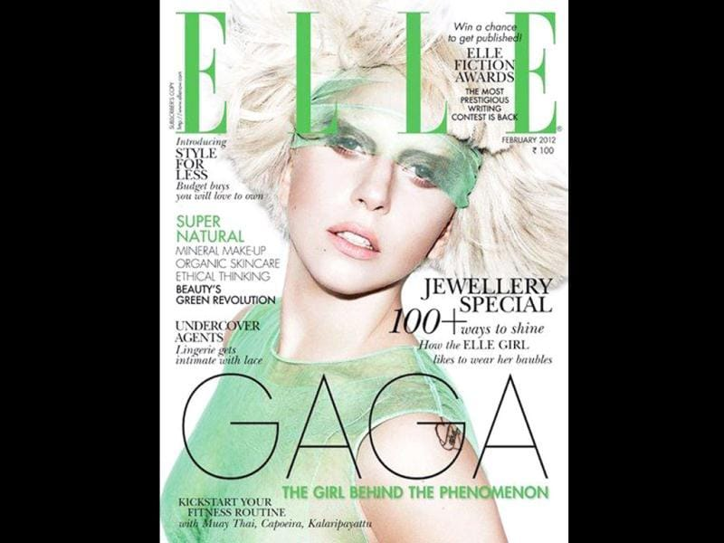Lady Gaga graces the February cover of Elle.