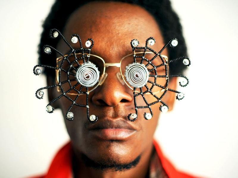 Kabiru has created a range of artworks called c-stunners that resemble sunglasses but have been made with objects found on the street on the way to his studio. AFP