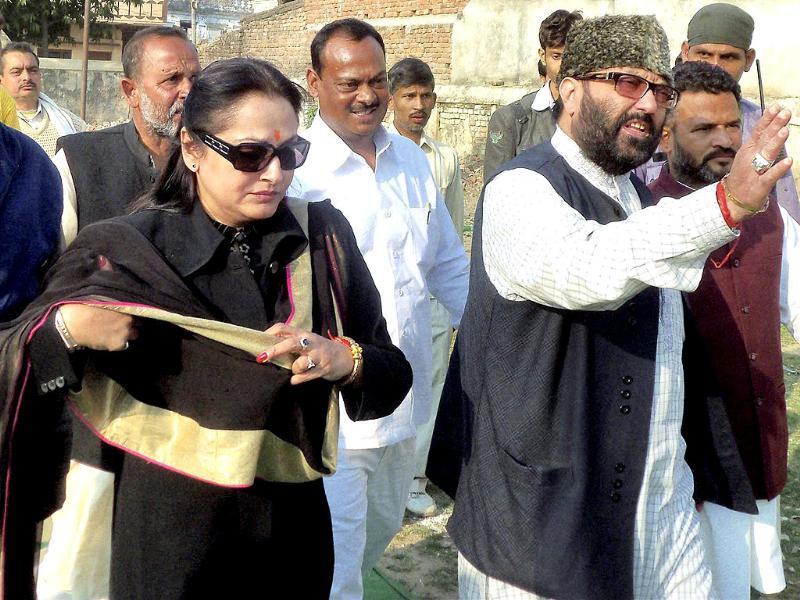 Lok Manch president Amar Singh and Jaya Prada at an election rally in Ballia. PTI Photo