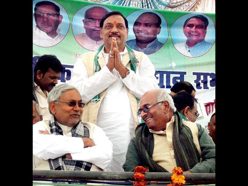 Bihar chief minister and JD-U leader Nitish Kumar (L) at an election rally in support of a party candidate in Ballia. PTI Photo
