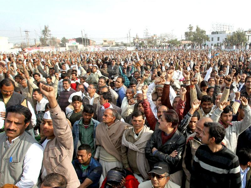 Crowd during Congress-RLD joint election rally in Meerut. PTI Photo