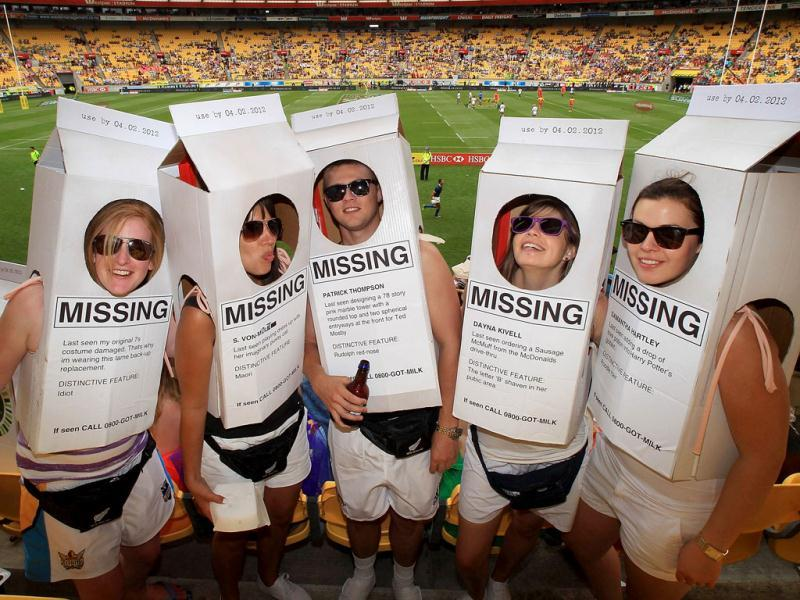 Sevens fans pose during the Rugby Sevens tournament in Wellington. AFP PHOTO /MARTY MELVILLE