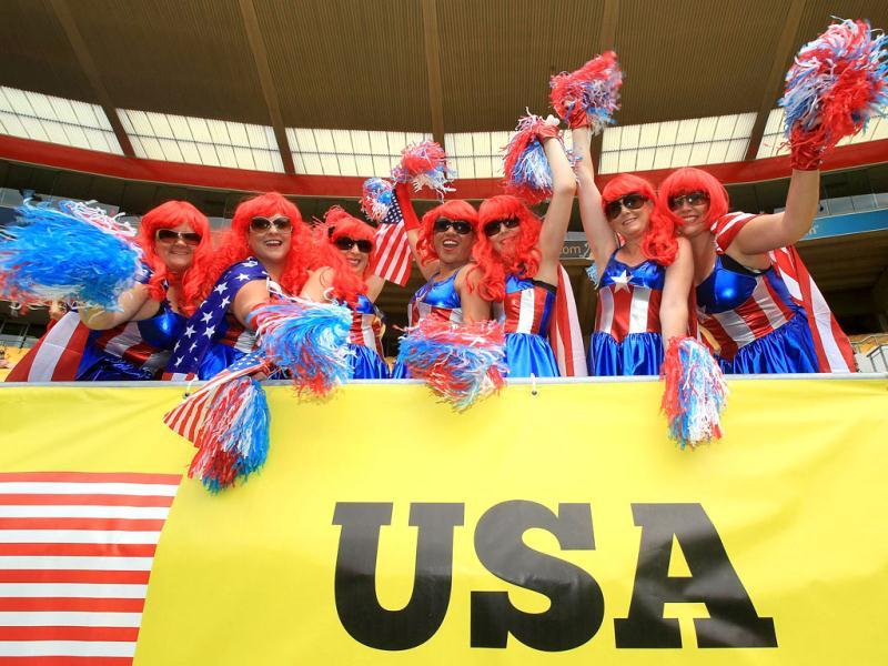 US fans enjoy the games during the Rugby Sevens tournament in Wellington. AFP PHOTO /MARTY MELVILL