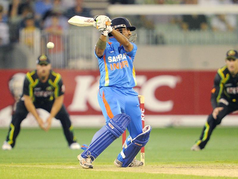 India's Gautam Gambhir swings at an Australian delivery in their international T20 cricket match at the Melbourne Cricket Ground (MCG) in Melbourne.