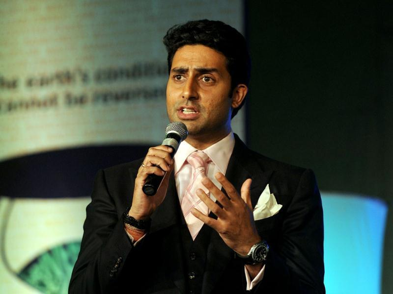 Abhishek Bachchan talks during the award ceremony in New Delhi on Feb 2. AFP Photo