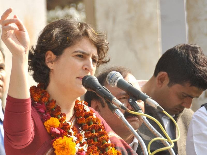 Priyanka Gandhi addresses a public meeting at Pindara village in Amethi. HT Photo/Ashok Dutta