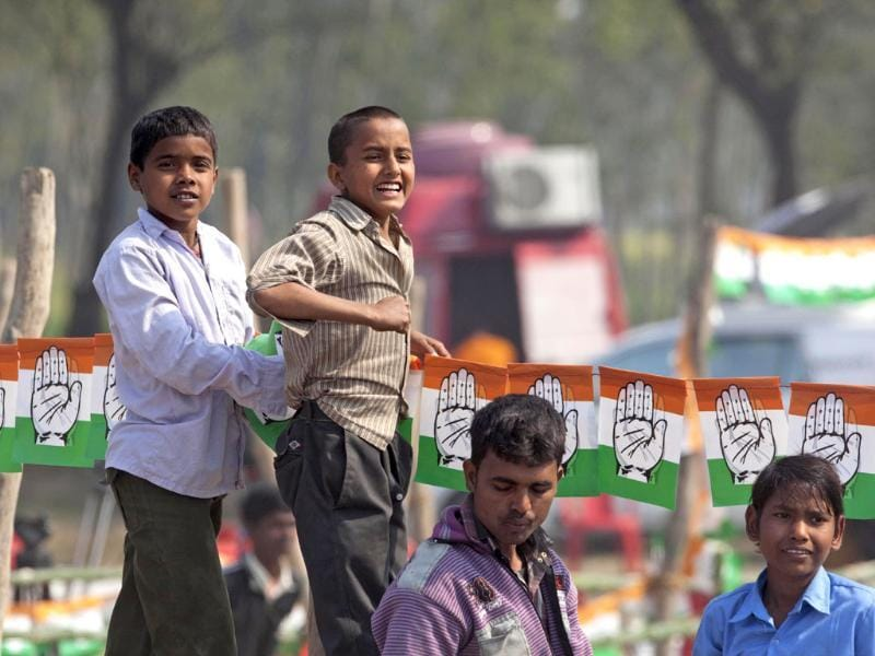 Children listen to Priyanka Gandhi Vadra speak during an election rally in Sultanpur district, Uttar Pradesh. AP Photo