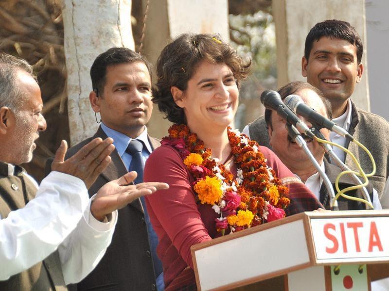 Priyanka Gandhi Vadra with Congress party workers at Pindara village in Amethi. HT Photo/Ashok Dutta