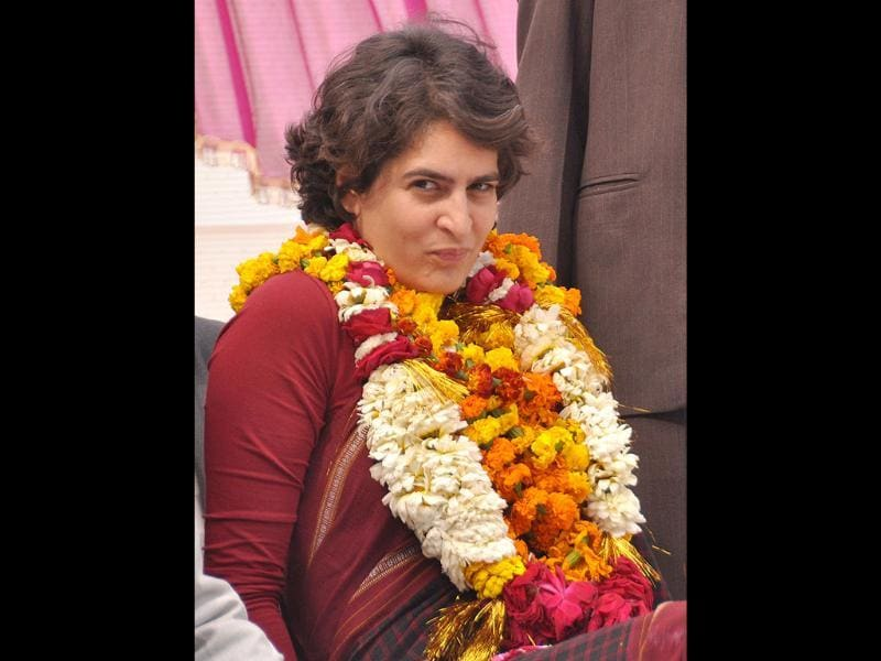 Priyanka Gandhi Vadra during a public meeting at Jamo village, Amethi. HT Photo/Ashok Dutta