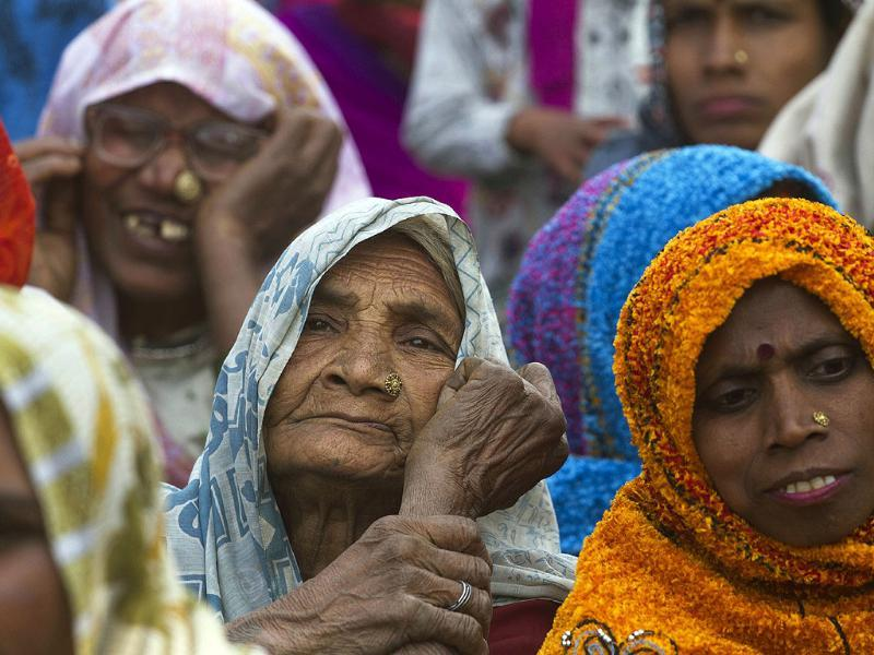 Women listen to Priyanka Gandhi Vadra speak during an election rally at Sultanpur district, Uttar Pradesh. AP Photo