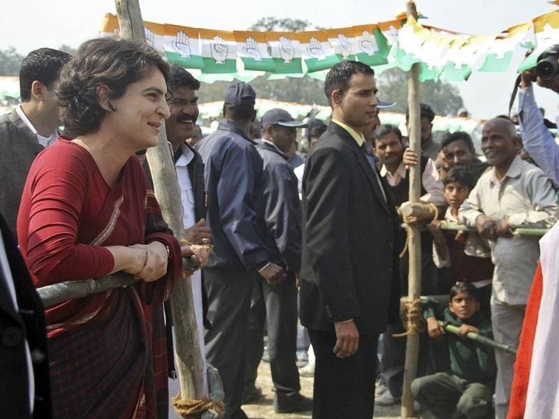 Priyanka Gandhi Vadra speaks with the supporters of Congress party during an election campaign rally at Amethi in Uttar Pradesh. Reuters Photo