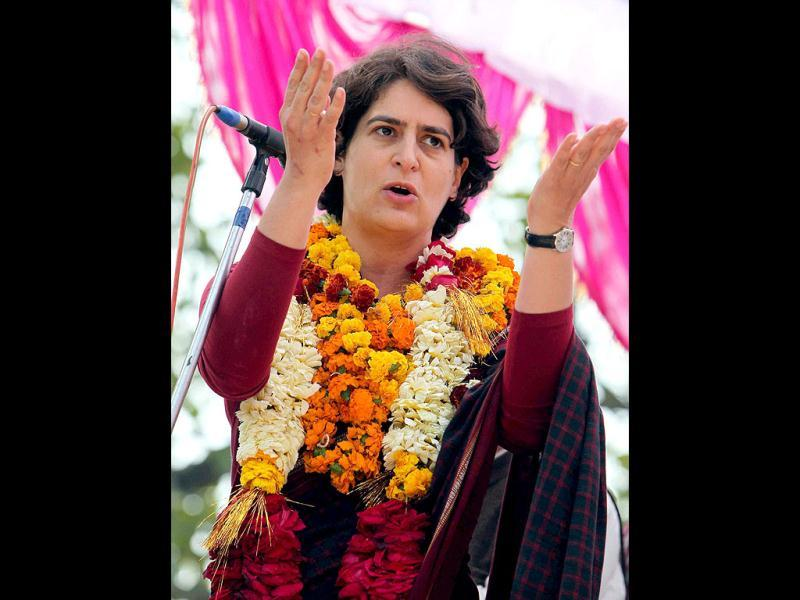 Priyanka Gandhi Vadra addresses an election meeting in support of Congress party at Jamo in Amethi. PTI Photo