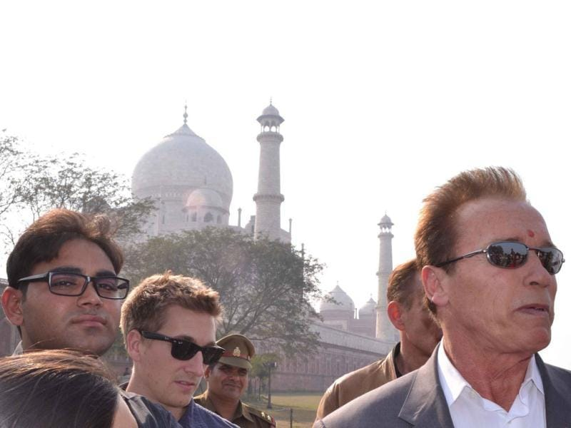 Arnold Schwarzenegger's tour guide Nitin Singh said the movie star was disappointed and had to view the Taj Mahal from a nearby road.