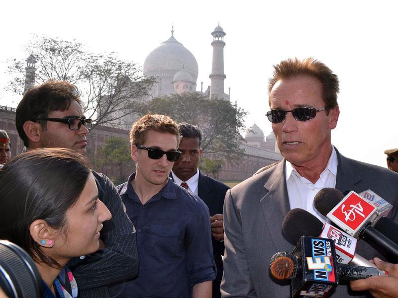 Arnold Schwarzenegger is in India for an environmental conference.