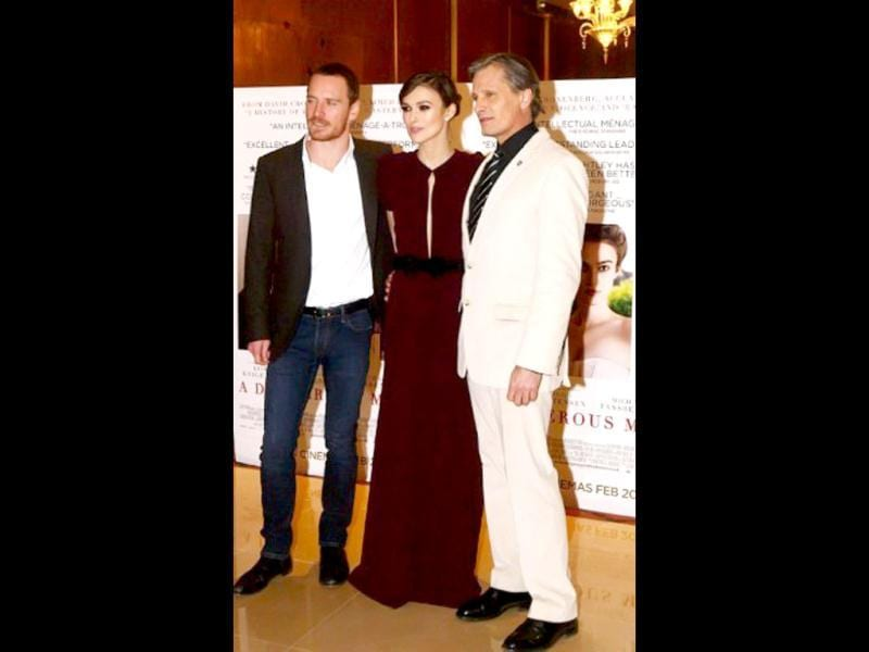 Keira Knightley, Michael Fassbender and Viggo Mortensen were present for the London premiere of their film A Dangerous Method.