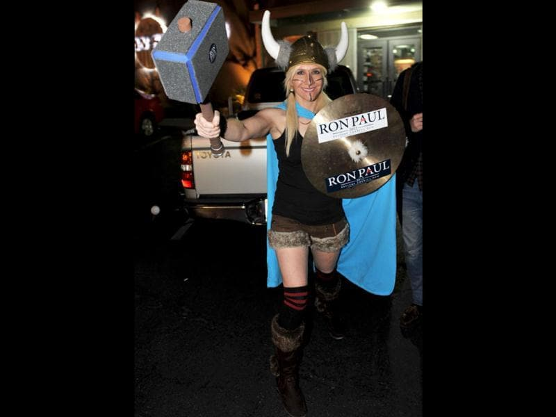 Donna Meichtry, a supporter of Republican presidential hopeful Ron Paul, dressed as a Viking after a 'Gun Owners for Ron Paul' event at American Shooters gun store and shooting range in Las Vegas, Nevada. AFP/Stan Honda