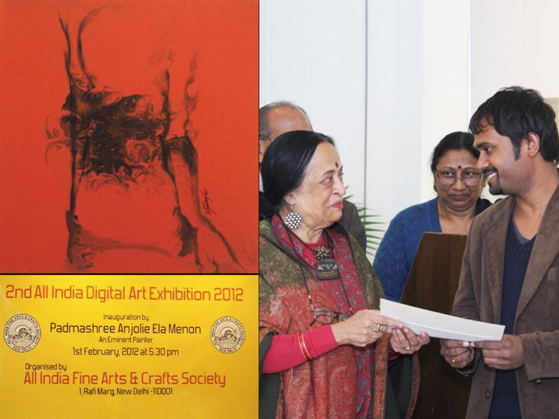 Artist Vijendra S Vij being awarded for his work titled Composition-1 (L) by Padmashree Anjolie Ela Menon at 2nd All India Digital Art Exhibition in New Delhi.