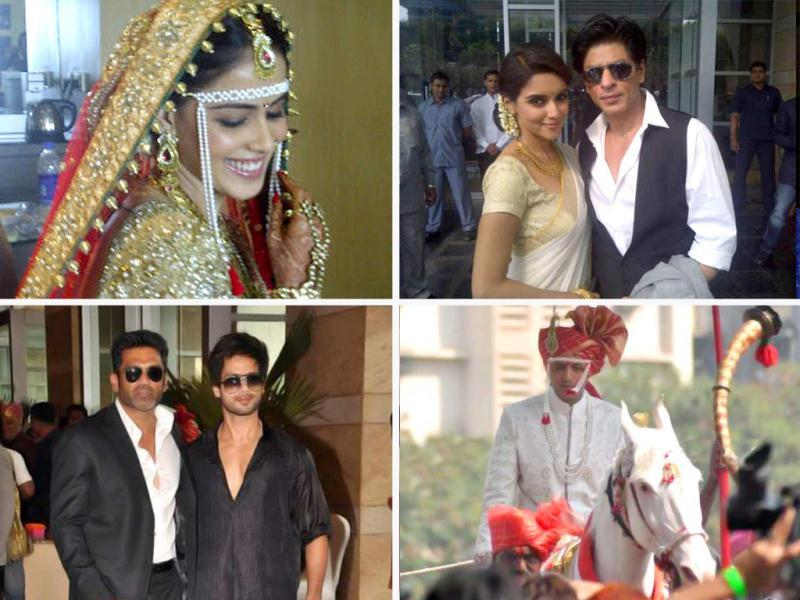 Bollywood couple Riteish Deshmukh and Genelia D'Souza tied the knot according to Marathi traditions in the presence of Bollywood and political biggies. Here's a look at the wedding album.