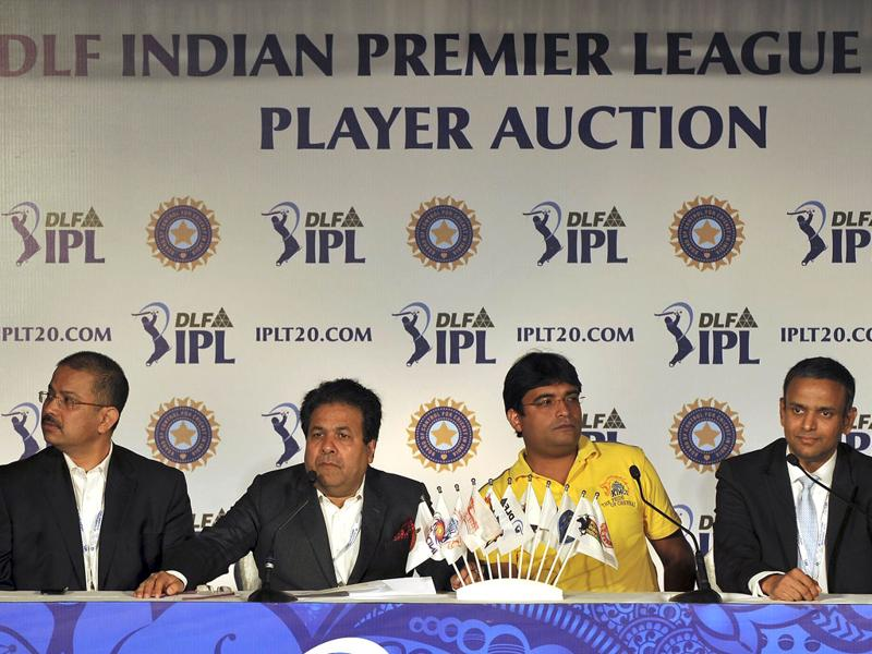 (L to R) CEO of Kolkata Knight Riders Venki Mysore, IPL Chairman Rajiv Shukla, owner of Chennai Super Kings Gurunath Meiyappan, and IPL CEO Sundar Raman attend a press conference for the players' auction for the fifth edition of the Indian Premier League (IPL) cricket in Bangalore. AFP PHOTO/Manjunath Kiran