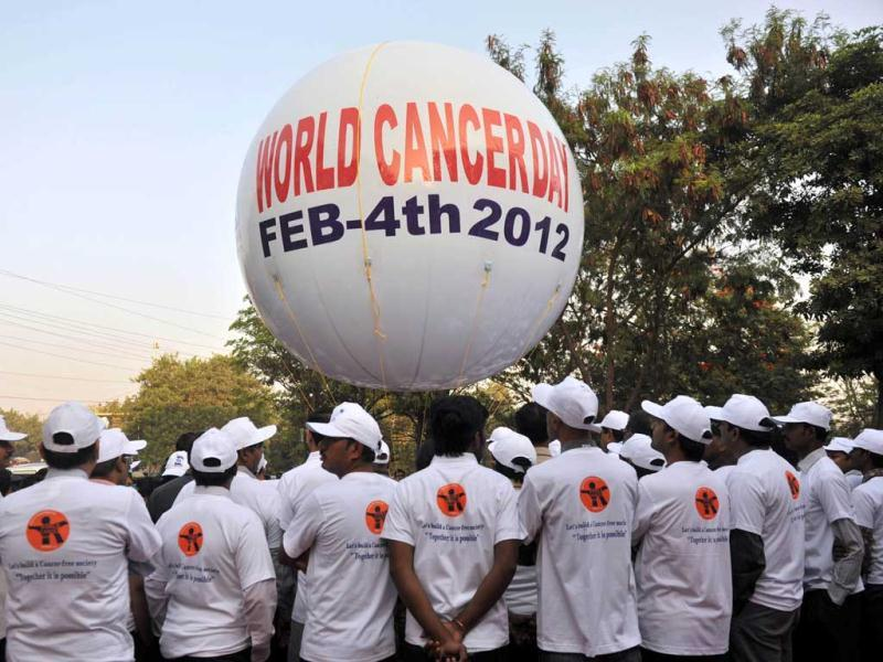 Indian Medical staff members of Basavatarakam Indo-American Cancer Hospital and Research Institute participate in a cancer awareness walk in Hyderabad during World Cancer Day. AFP/Noah Seelam