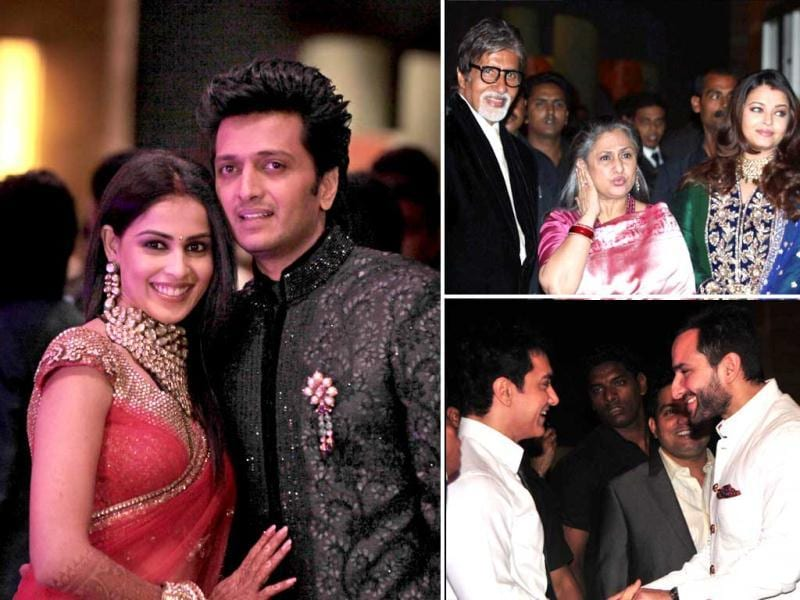 From the Bachchans to the Kapoors and the Khans, almost the entire Mumbai film fraternity turned up at the wedding reception of Genelia D'Souza and Riteish Deshmukh. Check them out.