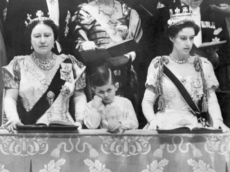 From L to R : Queen mum Elizabeth, Prince Charles and the Princess Margaret attend the ceremony of coronation of the Queen Elizabeth II, 02 June 1953, in Westminster Abbey, in London. The Queen was solemnly crowned at Westminster Abbey in London that day - File. AFP Photo