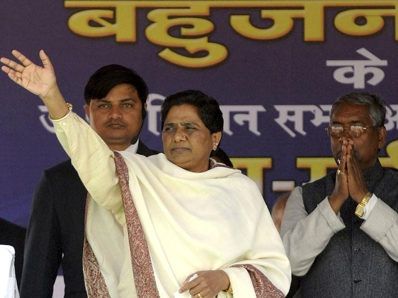 Bahujan Samaj Party (BSP) president and Uttar Pradesh chief minister Mayawati waves during a rally in Gorakhpur, Uttar Pradesh. AFP PHOTO / Prakash Singh
