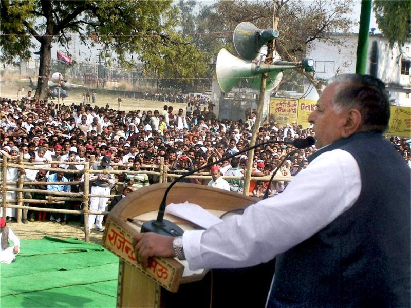 Samajwadi Party chief Mulayam Singh Yadav arrives for an election meeting in Mau. PTI Photo