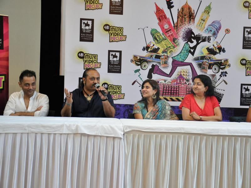 Sujoy Ghosh, Leslie Lewis, Pallavi Sharma, Deepa Gelhot and Preeti Golpalakrishnan during the launch of 48hr music video project.