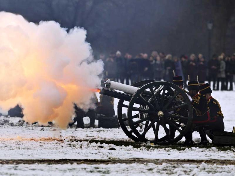 Members of The Kings Troop Royal Horse Artillery fire during the Accession Day 41 Gun Salute to mark the official start of Queen Elizabeth II's Diamond Jubilee in Hyde Park, London. (AP Photo/Matt Dunham)