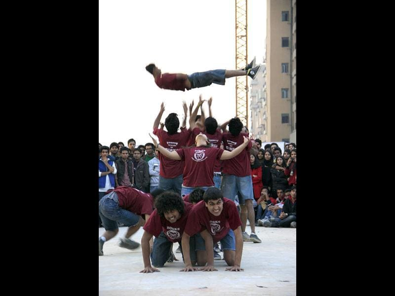 Students enjoying during an activity in the festival. (HT Photo/Mahadev Thakur)