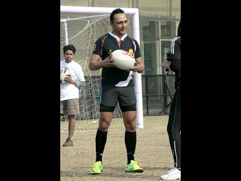 Actor Rahul Bose, who has been a member of India's International Rugby team for 11 years, plays rugby at marks for India Sports Campaign in New Delhi. The 44-year-old has confessed that sports is his passion and an inseparable part of his life.