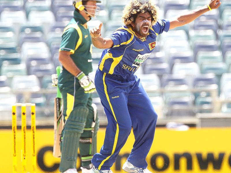 Lasith Malinga celebrates trapping Ricky Ponting LBW during the Tri Nations ODI Series match between Australia and Sri Lanka at the WACA ground in Perth. AFP