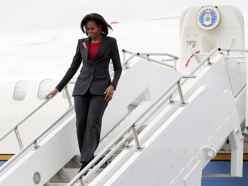 US First lady Michelle Obama deplanes at the Little Rock Air Force Base to highlight the military's efforts to improve the nutrition of food served throughout military bases. AP/Carolyn Kaster