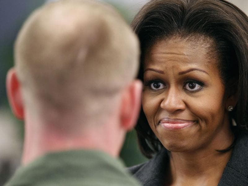 US First lady Michelle Obama speaks to airmen in a dining facility at Little Rock Air Force Base in Arkansas, to highlight her efforts to improve nutrition throughout the armed forces. Reuters/Kevin Lamarque