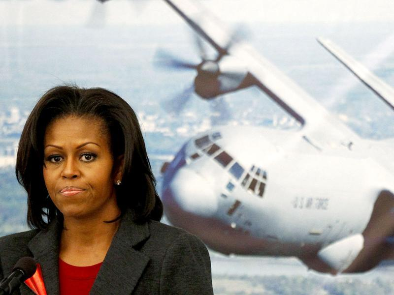 US First lady Michelle Obama speaks to airmen in a dining facility at Little Rock Air Force Base in Arkansas to highlight her efforts to improve nutrition throughout the armed forces. Obama is on a three-day trip to mark the second anniversary of her Let's Move initiative to improve diet and promote exercise in the nation. Reuters/Kevin Lamarque