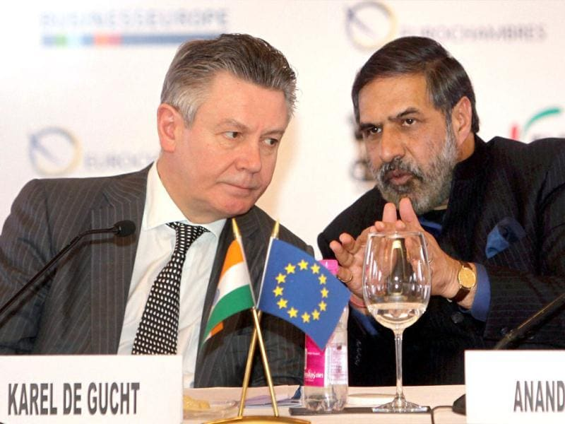 Union minister for commerce and industry Anand Sharma (R) talks to Karel De Gucht, EU trade commissioner at 'India-EU Business Round Table' meeting in New Delhi. PTI/Manvender Vashist