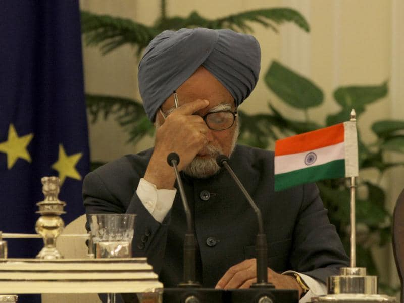 Prime Minister Manmohan Singh attends a joint news conference during the EU-India summit in New Delhi. HT/Sanjeev Verma