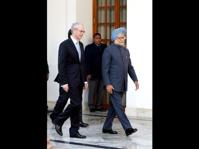 Prime Minister Manmohan Singh with European Council President Herman Van Rompuy arrives for a meeting in New Delhi. PTI/Vijay Kumar Joshi