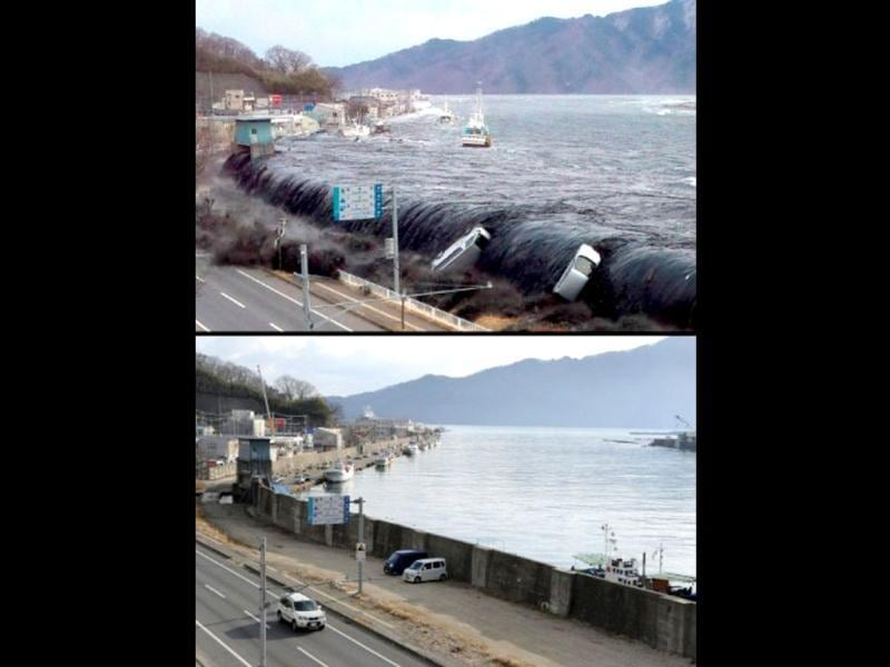 This combo shows an image (top) taken by a Miyako City official on March 11, 2011 of the tsunami breeching an embankment and flowing into the city of Miyako in Iwate prefecture and the same area (bottom image) on January 16, 2012 nearly one year after the March 11 tsunami devastated the area. (AFP photo/ Jiji Press) (top image) (AFP Photo/Toru Yamanaka)(bottom)